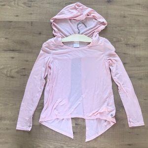 Zella girl T-shirt hoodie open back top size 8/10